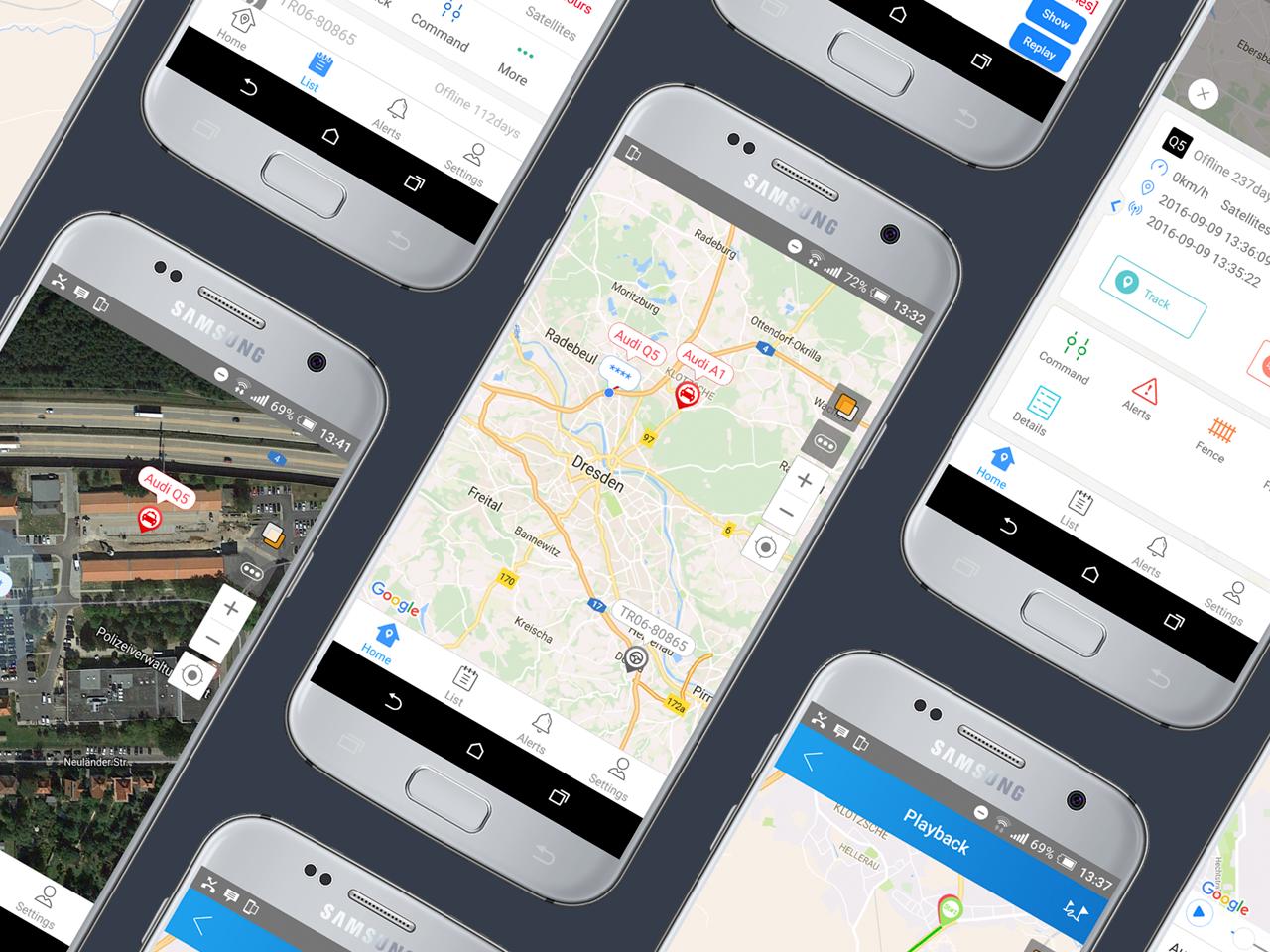Ortungsplattform App auf einem Samsung Smartphone